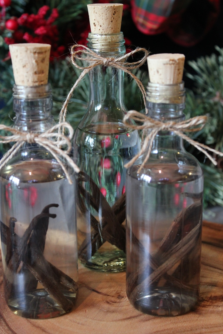 Homemade Vanilla Extract in Upcycled Bottles